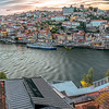 View of the city of Porto and the Douro river from Vilanova de Gaia, Portugal. High resolution panorama.