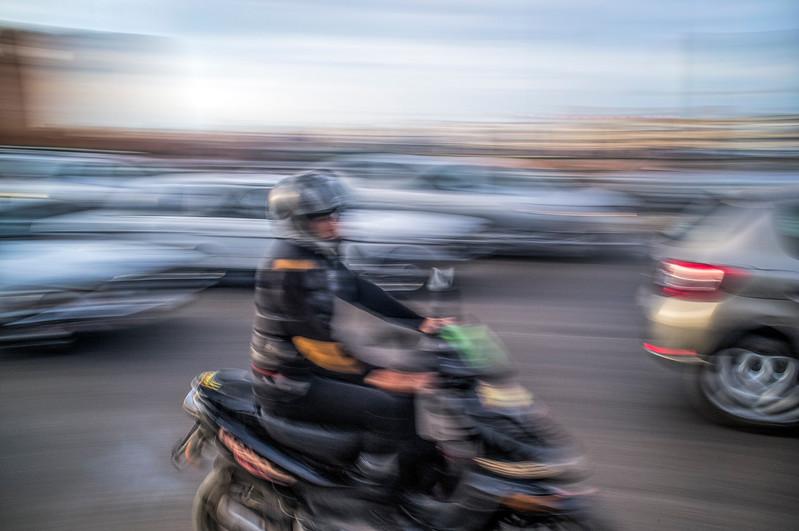 Traffic on Avenue Hassan II, Rabat, Morocco