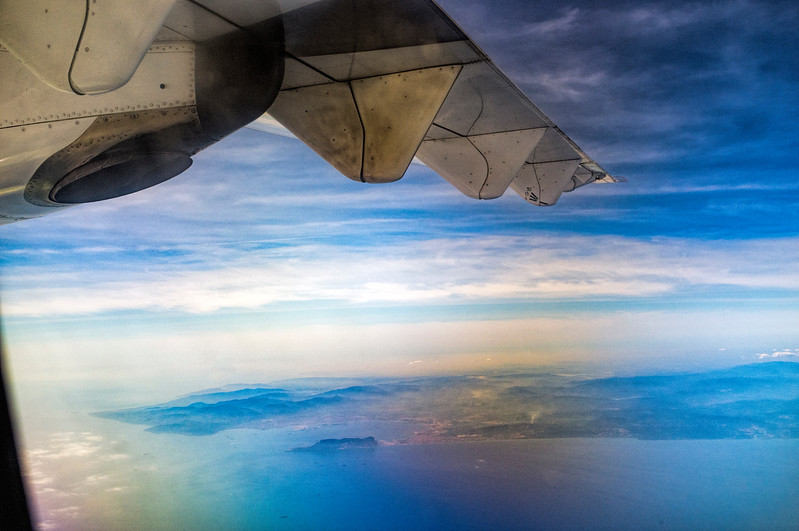 View of the Bay of Algeciras (or Gibraltar) and Gibraltar Strait from a flying airplane