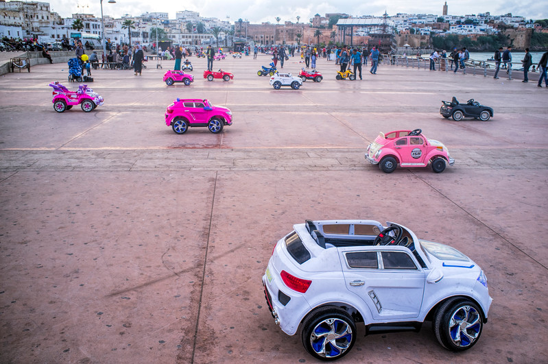 Child drivable toy cars for rent on the street, Rabat, Morocco.