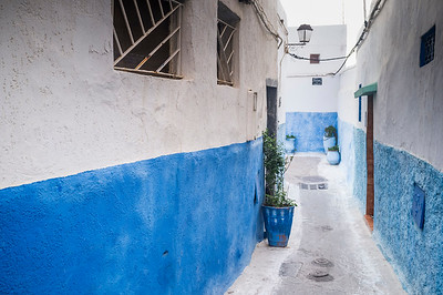 Typical architecture in the Kasbah. The Kasbah of the Udayas is a kasbah in Rabat, Morocco at the mouth of the Bou Regreg river opposite Salé. It was built during the reign of the Almohads (AD 1121-1269). It was granted World Heritage Status in 2012.
