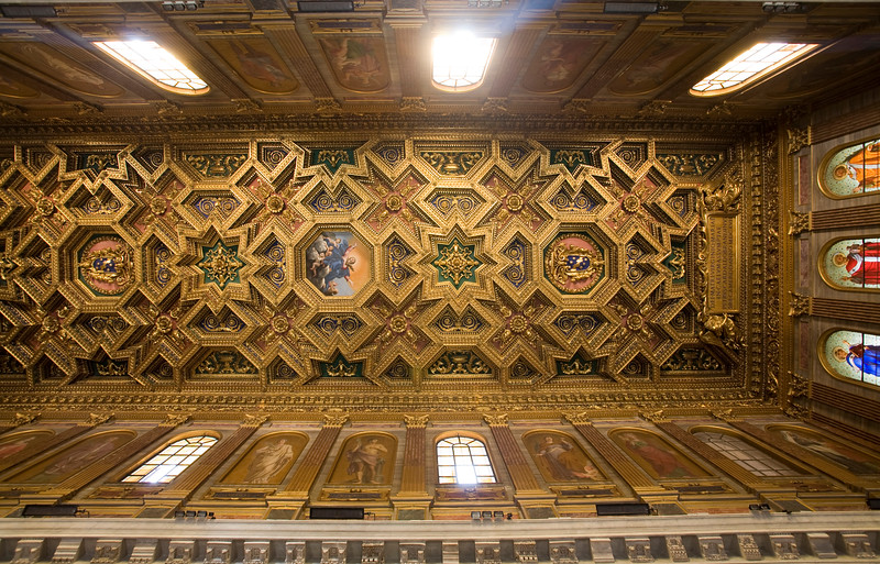 Coffered ceiling of Santa Maria in Trastevere basilica, designed by Domenichino in the 17th century. Rome.