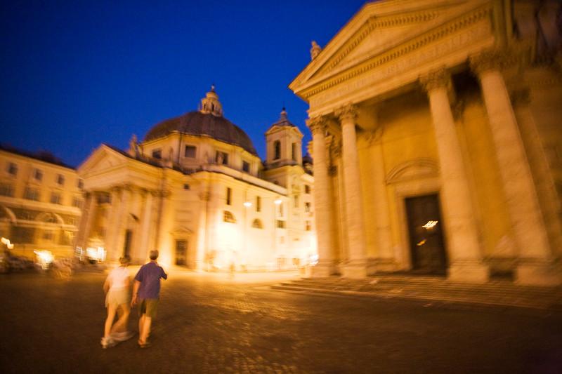 Night scene at Piazza del Popolo, Rome