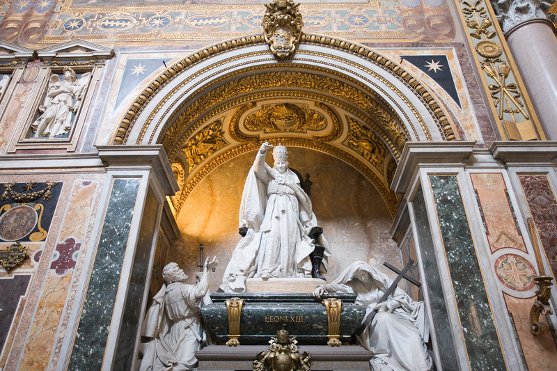Leo XIII tomb in the left transept of San Giovanni in Laterano basilica, Rome