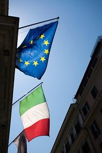 European and Italian flags, Rome