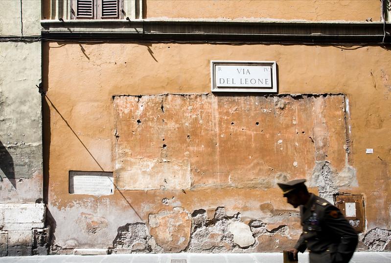Italian military on Leone street, Rome