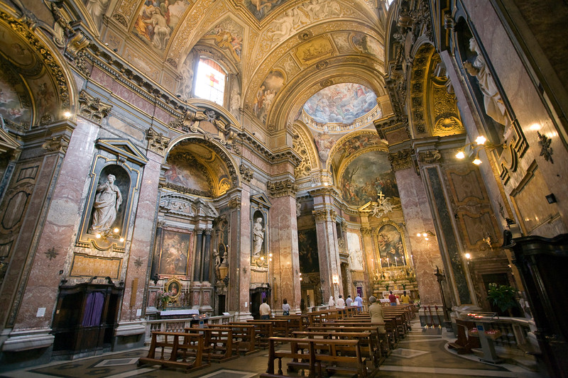 Interior of Maddalena church, Rome