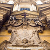 Detail from the rococo facade of Maddalena church, Rome