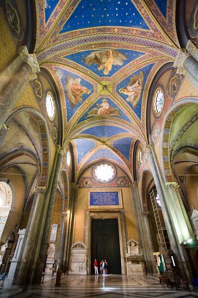 Celing and main nave of Santa Maria Sopra Minerva Basilica, Rome