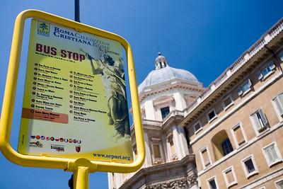 Bus stop of Christian Rome tour in front of Santa Maria Maggiore basilica