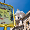 Bus stop of Christian Rome tour in front of Santa Maria Maggiore basilica