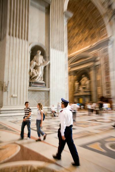 Vatican policeman inside Saint Peter's basilica