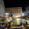 The Trevi fountain crowded with visitors by night, Rome