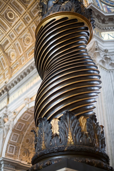 Detail of Bernini's twisted column from the baldacchino, Saint Peter's basilica, Vatican