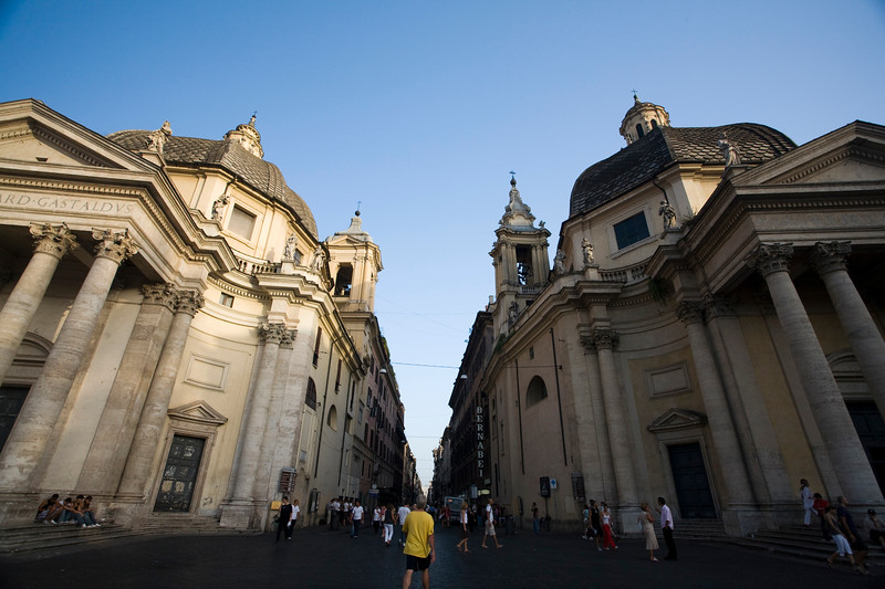 Santa Maria dei Miracoi (right) and di Montesanto (left) churches and Via del Corso in the middle, Rome