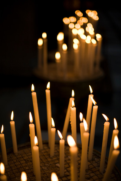 Votive candles, Santa Maria in Trastevere, Rome