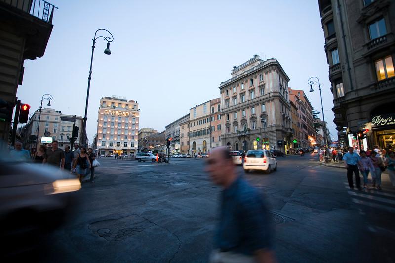 Piazza Barberini at dusk, Rome