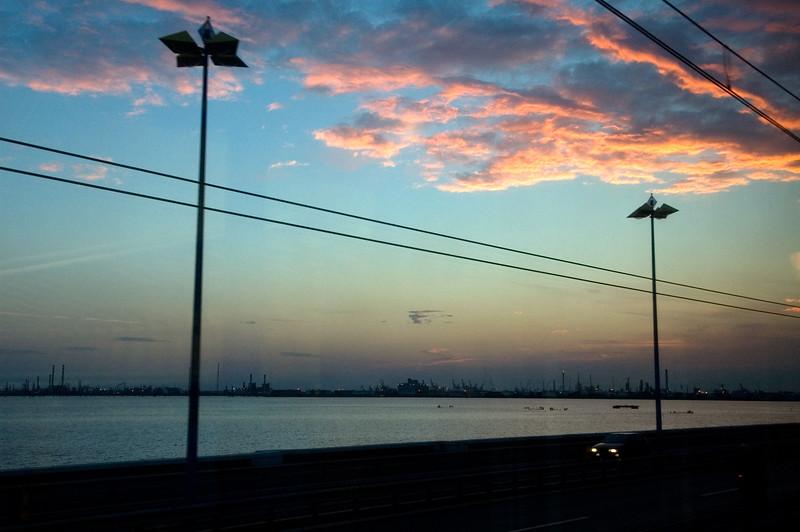 Venice's lagoon at dusk from the train, Italy