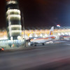 Barajas airport tower, Madrid, Spain. Motion blur.