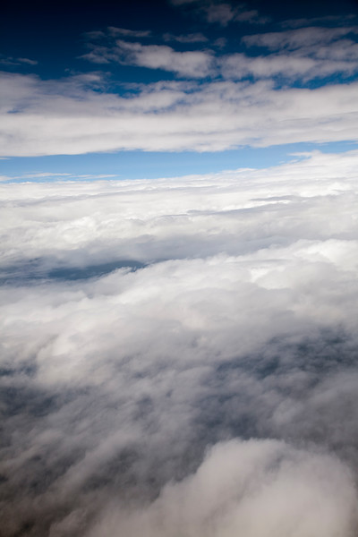 Clouds seen from a plane flying over central Spain