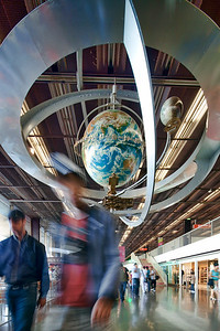 Globe with World Time, Orly Airport, Paris, France