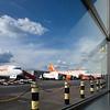 EasyJet company company planes on Luton Airport, UK