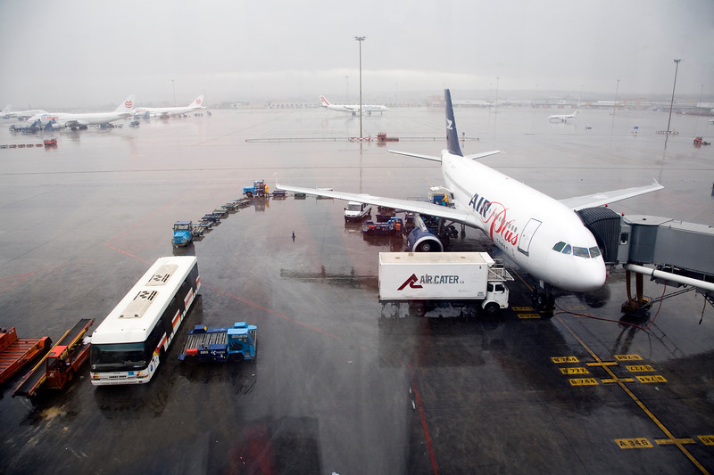 Landed airplane, Barajas airport, Madrid, Spain