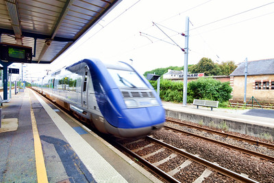 TGV Train arriving, railway station of the town of Vannes, departament of Morbihan, region of Brittany, France