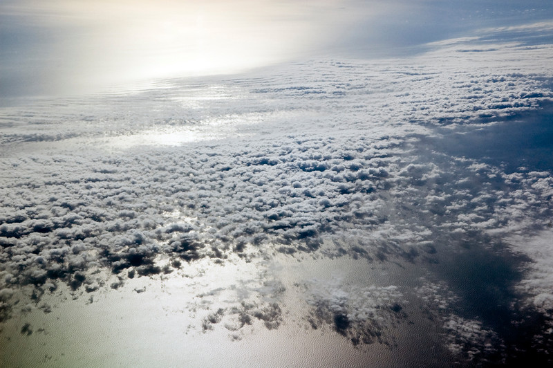 Clouds over the Mediterranean sea as seen from a plane flying alongside the French coastline