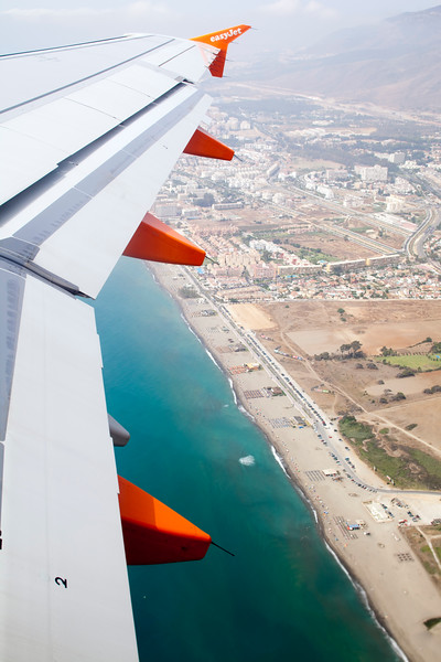 The town of Malaga viewed from a plane, Spain