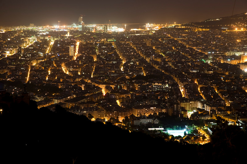 Barcelona by night from Tibidabo mountain, Spain