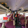 People inside a TGV train near Paris, France