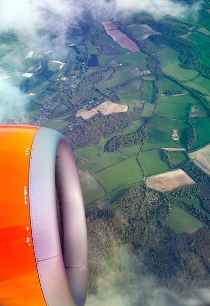 French bocage landscape from a plane