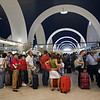 Queue for check-in, San Pablo airport, Seville, Spain