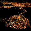 Madrid by night from a plane, Spain