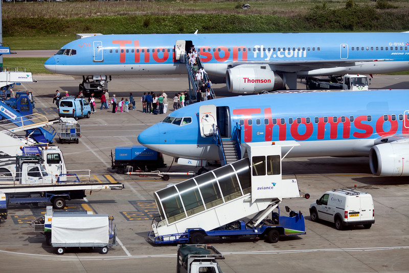 Thomson company planes on Luton Airport, UK