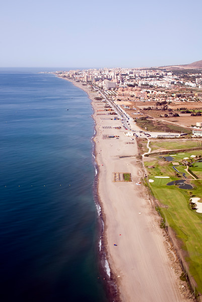 The Mediterranean Sea and the city of Malaga (Spain) from a plane