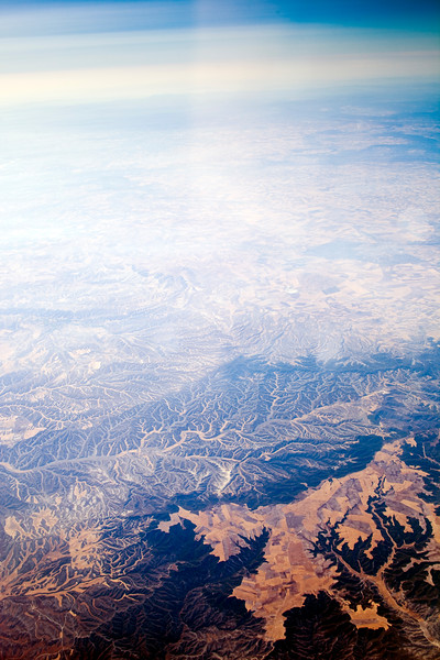 The desert area of Los Monegros (Aragon, Spain), as seen from a plane