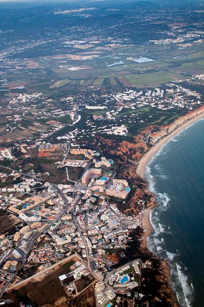 Aerial view of Atlantic coastline near Faro