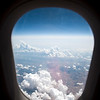 View from an airplane window flying over Seville, Spain