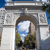 View of the 5th Avenue in NYC through the Arch of Washington Square, USA.