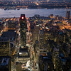 Midtown Manhattan and East River by night from the Empire State Building, NYC, USA
