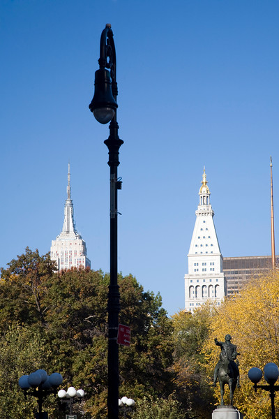 The Metropolitan Life Insurance Tower and the Empire State buildings as seen from Union Square, NYC, USA