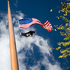 Pole on Union Square with the American and POW MIA flags, NYC, USA