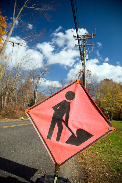 Men at work traffic sign on a secondary road, Connecticut, USA
