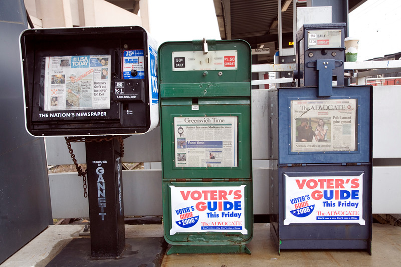 Newspaper boxes, Wilton, CT, USA