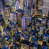 Northward view of midtown New York City at night from the top of the Empire State Building, USA