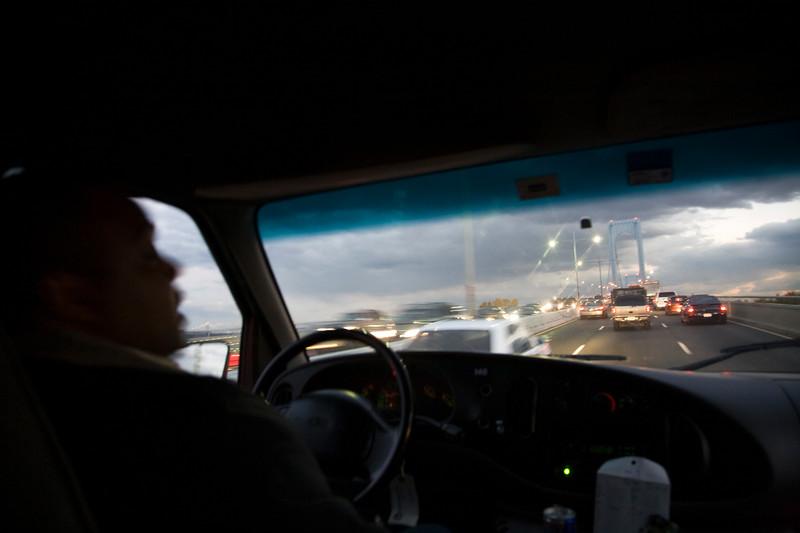 Driving towards Bronx-Whitestone Bridge, NYC, USA