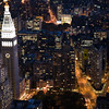 The Flatiron building and the MLIT by night from the Empire State Building, NYC, USA