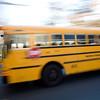 Panning shot of a School bus, Connecticut, USA
